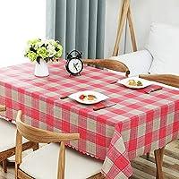 ZXTヨーロッパの牧歌的な格子長方形のテーブルマット模造綿とリネンの質感PVCテーブルクロス防水と防油アンチホットテーブルクロスコーヒーテーブルダイニングテーブル装飾生地 (Color : B, Size : 135*200cm)