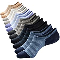 M&Z Mens Cotton Low Cut No Show Casual Crew Ankle Non-Slide Socks,6 Pairs (Multicolor)