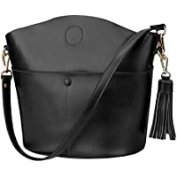 S-ZONE Women's Small Cowhide Genuine Leather Purse Handbag Tassel Crossbody Shoulder Bag