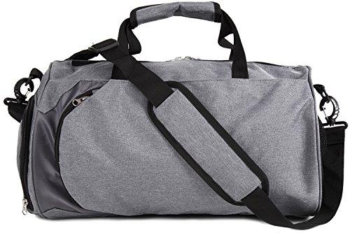 CARADONA(カラドナ) ボストンバッグ型大容量スポーツバッグ シューズ収納 防水 グレー