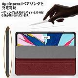Wonzir 新しい iPad Pro 12.9 ケース (2018モデル) Apple Pencil 収納可能 Apple Pencil 2代にワイヤレス充電対応 スタンド機能 iPad Pro 12.9 インチ (2018新型) 保護カバー 軽量 薄型 シンプル 三つ折タイプ 全面保護型 傷つけ防止 iPad pro 12.9手帳型 ケース PU 便利なペンホルダー付き (ipad pro 12.9 (2018 新モデル), レッド) 画像