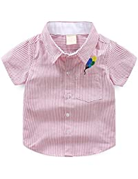 db417f5238dfa HMT  エイチエムティー 子供シャツ キッズ シャツ ボーイズ半袖シャツ男の子フォーマルワイシャツコットンカジュアル シャツ ストライプ柄 上着  子供服純綿 発表会…