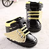 ANB- PU Leather Fashion Newborn Baby Kids First Walkers Shoes Infant Toddler Unisex Boys Girls Angel Wings Sneakers Boots( Size11(1) )
