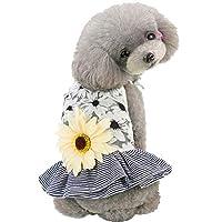 (ボラ-キキ) Bole-kk 犬の服 犬服 ワンピース スカートドッグウェア ワンピース 可愛い 小型犬 トイプードル チワワ ダックス 服 洋服 ドレス 春 夏 (L, グレー)