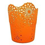 Amazon.co.jpDoitsa 筆立て ペンホルダーコンテナ 透かし彫りスタイル 花パターン 事務用品 文房具ボックス オフィス贈り物 円筒形 はさみ消しゴム万年筆収納用品 飾り箱 オレンジ