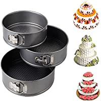 Fairbridge 3pcs Nonstick Springform Cake Pan Cheesecake Pan Leakproof Cake Pan Bakeware Loose Base Cake Baking Tin Interlocking Bakeware (3pcs - 24/26/28cm CM (Round))
