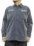 ワークシャツ メンズ 大きいサイズ ツイル 無地 ヒッコリー 刺繍入り 長袖シャツ 2L ストライプ(90)