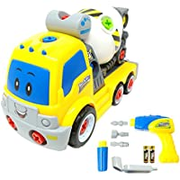 Take Apart Toy Cement Mixer Truck TG650 - Take-Apart Cement Mixer Boys Toy with Working Drill & Moving Parts - Toddler Toy For Boys & Girls Aged 3, 4, 5, 6 - By ThinkGizmos (Trademark Protected)