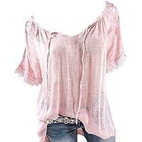 Petalum Women Short Lace Sleeves Summer Shirt Top Off Shoulder Solid Casual Blouse Beach Holiday Wear (a Little Seethrough)