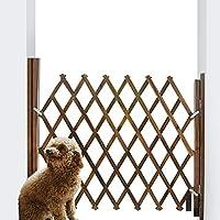 蜂の巣 木製 ペットゲート 伸縮 ペットフェンス アコーディオンフェンス 間仕切り 庭 フェンス ドア付き ブラウンあかちゃん ガード スプライス可能 室内室外用設置可能 (L)