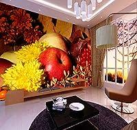 Chunxd 新しい8D壁画現代創造的な手描きの果物と野菜のレストランのリビングルームの背景壁アップル写真3D壁画-200X140Cm