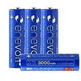 エネボルト(enevolt) 大容量 単3形充電池 3000mAh ニッケル水素充電池 自然放電軽減 繰り返し約1000回 充電 電池 4本セット