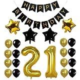 Funpa 風船 バルーン ガーランド 23点セット 誕生日 お祝い パーティー デコレーション 掛け飾り ktv ディスコ バー アルミ箔 (21歳)