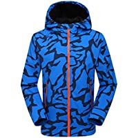 LANBAOSI Men's Camo Waterproof Jacket Soft Shell Fleece Lining Outdoor Coat