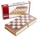 Ybriefbag-Toys チェスセット 折りたたみ式 木製 スタンダード チェスボードセット 木製 駒 チェスメン ストレージ スロット チェスボード 30*30cm Ybriefbag