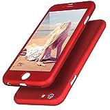 Imikoko iPhone6 6s ケース 全面保護 強化ガラスフィルム 360度フルカバー 衝撃防止 アイフォン6ケース おしゃれ 高級感 薄型 携帯カバー (iPhone6/6s, レッド)