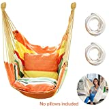 Hammock Chair Hanging Rope Swing Seat for Indoor Outdoor, Sturdy Cotton Weave Hammock Swing, Max 300Lbs Hanging Hammock Chair for Bedroom Patio Porch (Vibrant Orange)