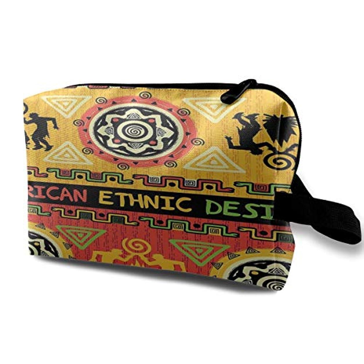 ナラーバー言語学流出African Culture Print 収納ポーチ 化粧ポーチ 大容量 軽量 耐久性 ハンドル付持ち運び便利。入れ 自宅・出張・旅行・アウトドア撮影などに対応。メンズ レディース トラベルグッズ
