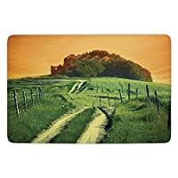 Bathroom Bath Rug Kitchen Floor Mat Carpet,Tuscan,Peaceful Landscape of Pienza Tuscany Vineyard Trees Rural Ancient Farm House,Orange and Green,Flannel Microfiber Non-slip Soft Absorbent