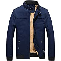 Chouyatou Men's Winter Full Zip Heavy-Weight Sherpa Lined Casual Bomber Jacket