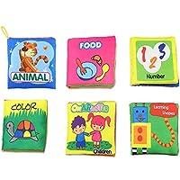 iMagitek 赤ちゃん用 非毒性 ソフト 布製ブックセット 学習用形状 ナンバー キュート 動物 カラー キャラクター 食べ物 ファブリック本 - 幼稚園学習活動 知的発達 - 6個パック