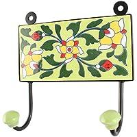 IndianShelfハンドメイドセラミックグリーンフローラルタイルリーフタオルフック/ホルダー/ハンガー1 Piece (hk-1746 ) 標準 グリーン
