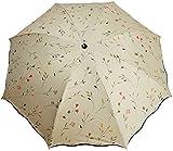 [FStylish] レディース UV 紫外 線 カット 晴 雨 兼用 花 柄 折り畳み 傘 (オフホワイト)