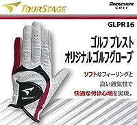 【ゴルフプレストオリジナル】ツアーステージ ゴルフグローブ 片手用 GLPR16 【ホワイト/レッド・22cm】[ブリヂストン 手袋]