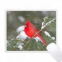 冬の白い松の木の北方の枢機卿男性、マリオン社、IL PC Mouse Pad パソコン マウスパッド