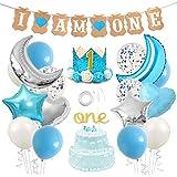 1歳飾り付け 男の子 ブルー 誕生日 バナー ガーランド バースデークラウン 風船  スター ハート 月 紙吹雪入れ バルーン ケーキトッパー