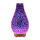MoKo Essential Oil Diffuser, 3D Glass Aromatherapy Mist Humidifier with 3D Effect Light / 4 Time Options/Auto Shut-off for Office Home Study - Multi Color