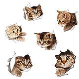 Fohil 3D かわいい猫 ウォールステッカー 6匹の猫セット シール式 装飾 おしゃれ はがせる 剥がせる DIY ねこ 動物 立体 騙し絵 写真 カフェ ペット屋 玄関 寝室 子供部屋 賃貸OK PVC製