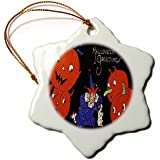 3dローズSandy Mertensヴィンテージハロウィンデザイン – Halloween Jack O Lanterns、クラウンと犬 – Ornaments 3-Inch orn_53720_1