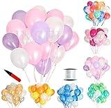(ジンセルフ) JINSELF あんしん極厚風船 100個セット 弾力2倍 高品質 キラキラ光沢 誕生日 結婚式 パーティー お祝い 飾り付け 飾り 装飾 装飾品 デコレーション 空気入れ ピンクパープル