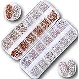 コぺフラップ キラキラ ネイル ラインストーン 大容量 クリスタル シルバー オーロラ パール 系 全4色 ケース入り (琥珀×シルバー)