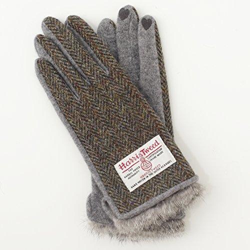 【ハリスツイード】HARRIS TWEED レディース スマホ対応 手袋 ジャージーニット AY-15AWGL-005 (モスベージュ x グレー)