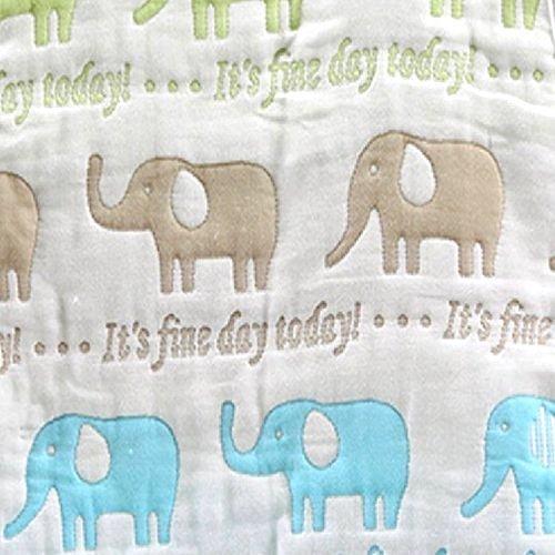 バンビノ おくるみ 8重ガーゼ 洗うたびにふっくら 天然コットン 新生児 出産祝い 便利な帯付き (象さん)