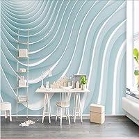 Weaeo カスタム3D写真不織布の壁紙テレビの壁画壁青白いストライプモダンな子供の部屋のテレビのソファの壁紙家の装飾-150X120Cm