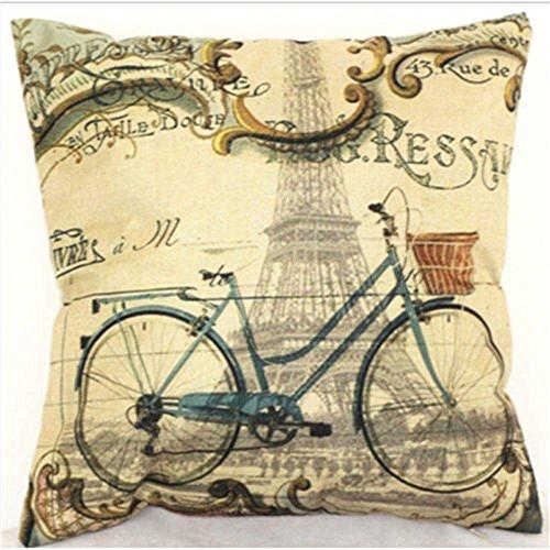 damuyasレトロ自転車パリエッフェル塔枕カバークッションカバースクエアホームDecor