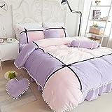 [Unusual] ベッド用3点セット 冬用 フラノ 掛け布団カバー ベッドスカット ピローケース 枕カバー おしゃれ 姫系 厚い