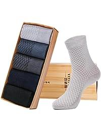 ユニーク(Unique) 靴下 メンズ ビジネス セット 無地 洗練 クルー丈 スポーツソックス シンプル ミドル 肌触りがいい 竹繊維 5色5足組