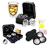 Arkmiido 3 Pack Flexible Silicone Ice Cube Tray Ice Ball Maker For Whiskey 3D Diamond Ball Skull Ice Cube Mold Set For Whiskey Cocktails