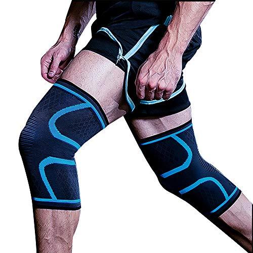 Byinns 膝サポーター 薄型/通気/伸縮性 関節 靭帯 怪我防止 男用 2個セット (ブルー, M)
