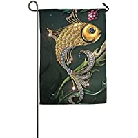 DFGTLY Fashion Personalized Garden Flag,Gold Glitter Fish Garden Flag-12