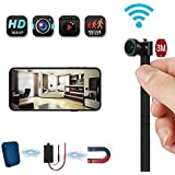 Hidden Nanny Camera Support Motion Detection and Night Vision, WiFi Spy Cam 4K Video, Tiny Wireless Flex Wifi Camera 4-6 Hours Working Time, for Home Security (128g)
