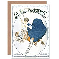 La Vie Parisienne Swinging Ladies Magazine Cover Sealed Greeting Card Plus Envelope Blank inside パリ 雑誌の表紙 カバー