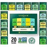 VAHDAM, Green Tea Sampler, 5 TEAS - Tea Variety Pack   Assorted Green Tea Bags   Organic Green Tea, Mint, Earl Grey, Chamomile Tea Bags   20 Ct   Tea Gift Set & Tea Gift for Tea Lovers