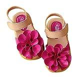 ange select マジックテープ 履きやすい 花 モチーフ 女の子 キッズ クッション サンダル 滑り止め 付き 子供 靴 (ローズ15.5cm)