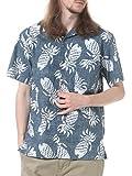 (ルーシャット) ROUSHATTE 綿100% 裏プリント 総柄 オープンカラー 半袖 アロハシャツ パイナップル柄 / M