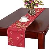 LKCDNG テーブルランナー 赤い 和風の花 クロス 食卓カバー 麻綿製 欧米 おしゃれ 16 Inch X 72 Inch (40cm X 182cm) キッチン ダイニング ホーム デコレーション モダン リビング 洗える